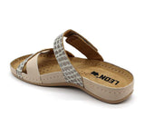 LEON 957 Leather Sandal Clogs for Women - Beige