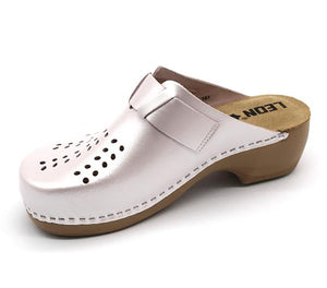 LEON PU161 Leather Clogs for Women - Pearl