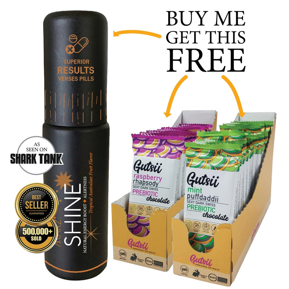 Limited time offer: Buy Marz SHINE Spray and receive 40 Dark Vegan chocolates FREE (valued at $140!)
