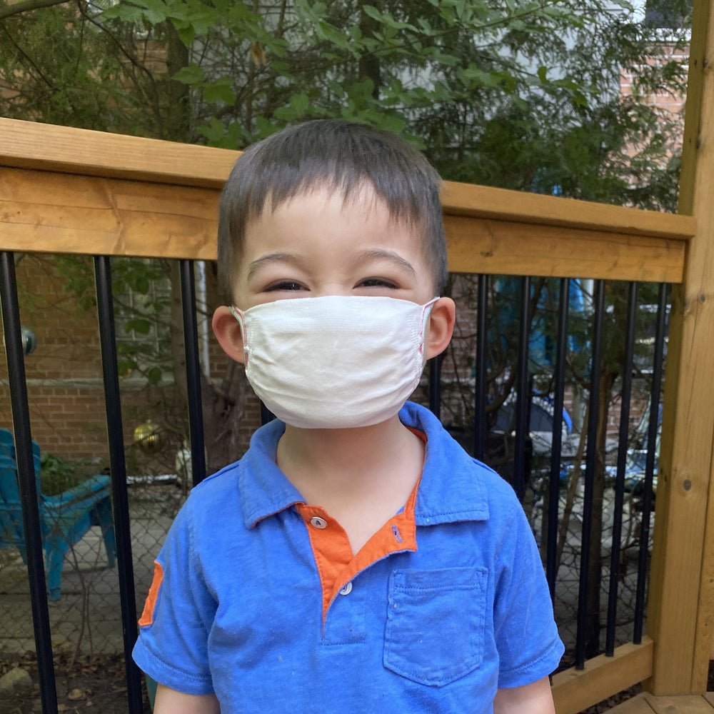 Kid wearing standard reusable mask