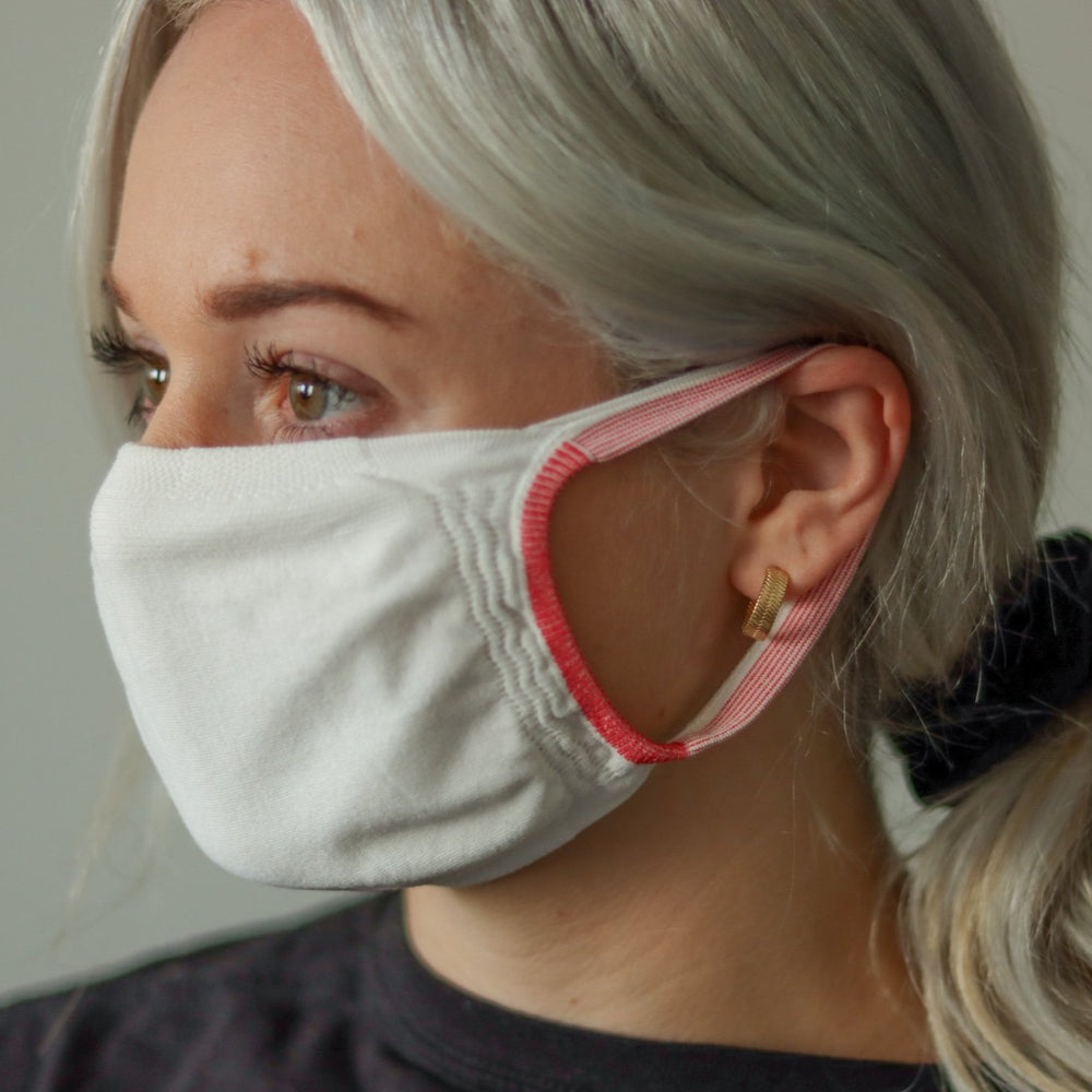 Woman wearing white reusable standard mask