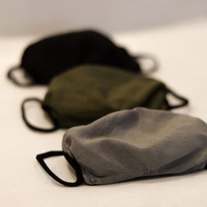 Triple-layer masks in Black, Grey and Olive Green
