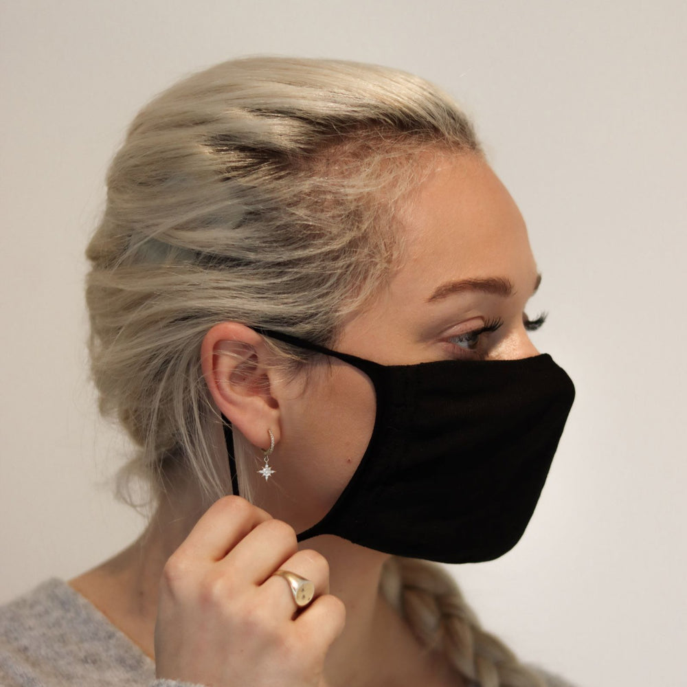 Woman wearing black triple-layer reusable standard mask