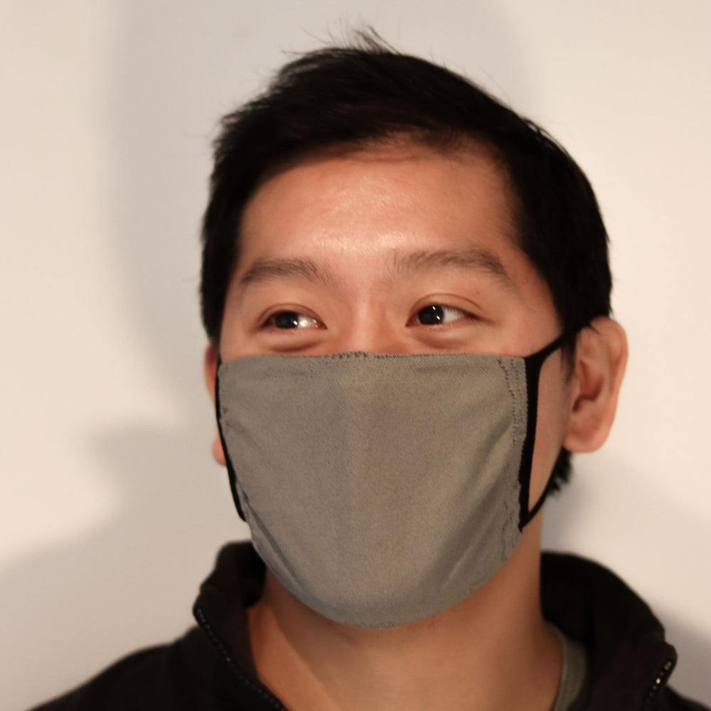 Man wearing grey triple-layer reusable mask