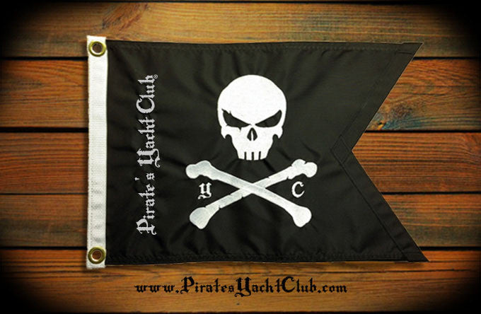 """Pirate's Yacht Club"" Skull and Crossbones Flag"