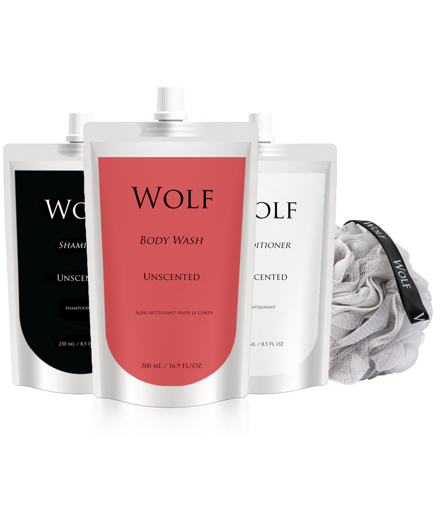 unscented shampoo, conditioner, body wash in refill pouches