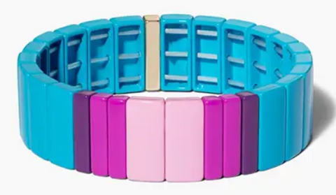 Blue & Pink Wide Enamel Tile Stretch Bracelet