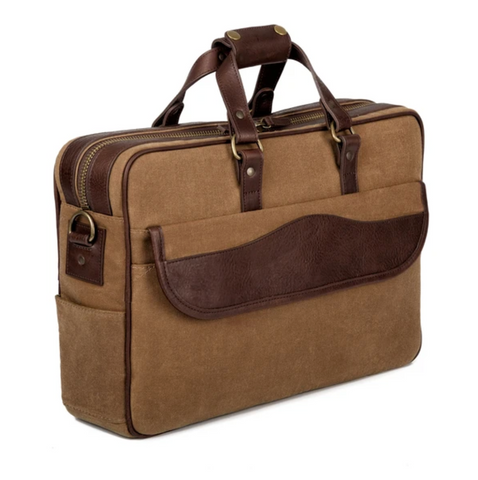 Waxed Canvas Briefcase Smoke/Brown