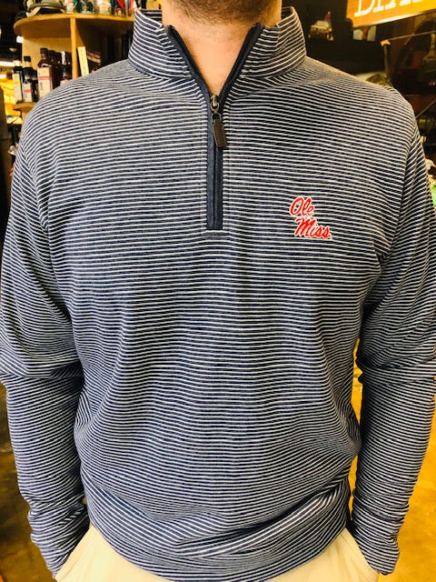 Ole Miss Cotton Stripe 1/4 Zip