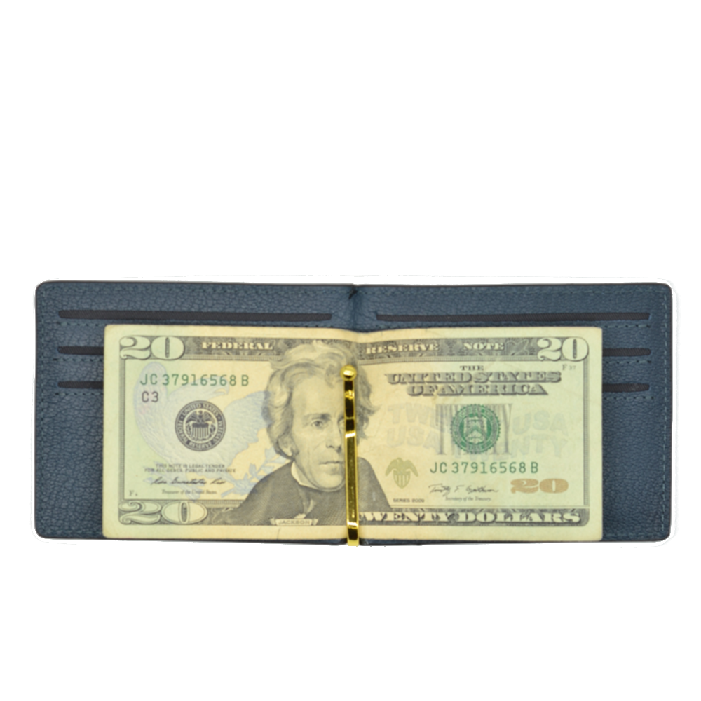 Wide Leather Money Clip Wallet Black/Navy