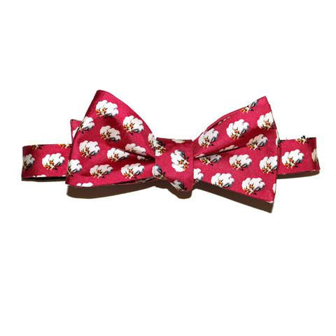 Red Cotton Boll Bow Tie