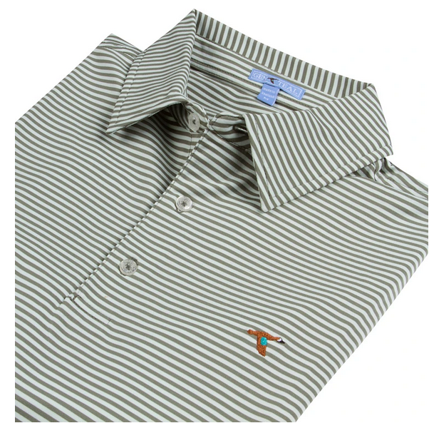 Fog Seaside Stripe Performance Polo