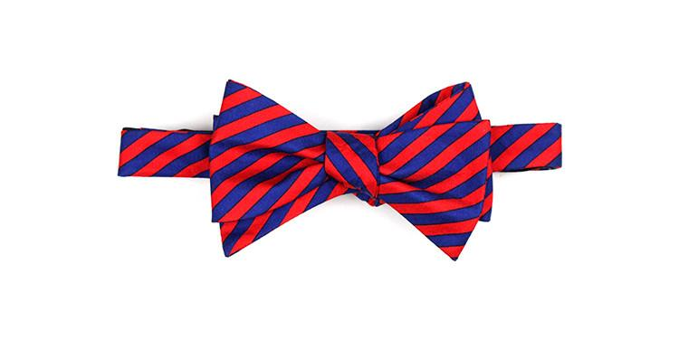 Red/Navy Stripe Bow Tie