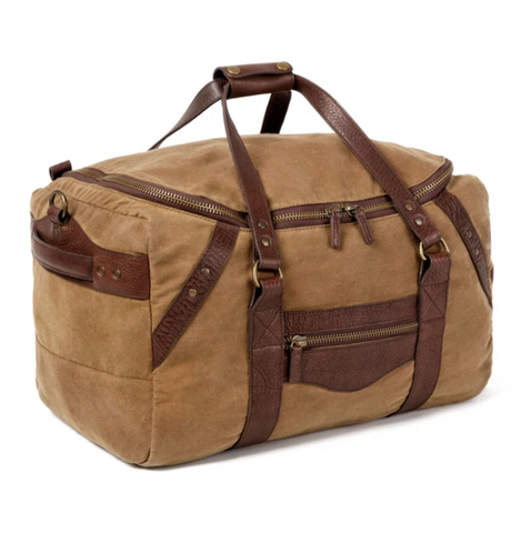 Waxed Canvas Medium Duffle Smoke/Brown