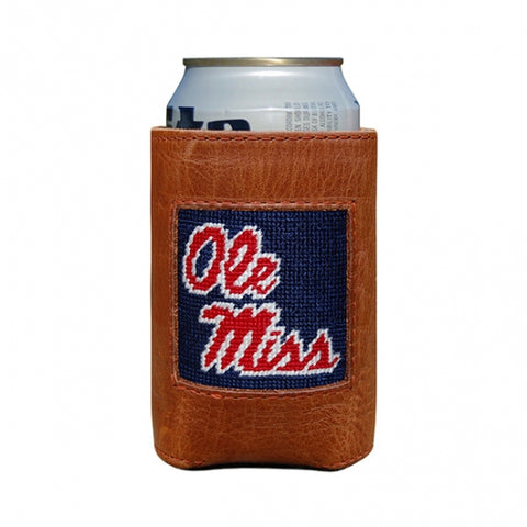 Ole Miss Navy Needlepoint Coozie