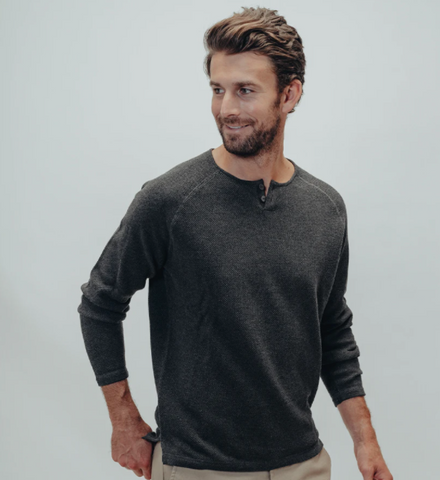 Tony Two Button Sweater Charcoal
