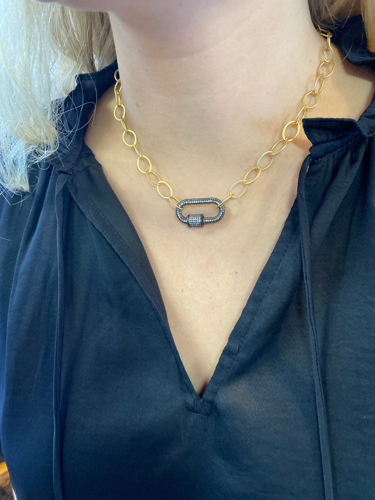 Alex Charcoal Lock Gold Necklace
