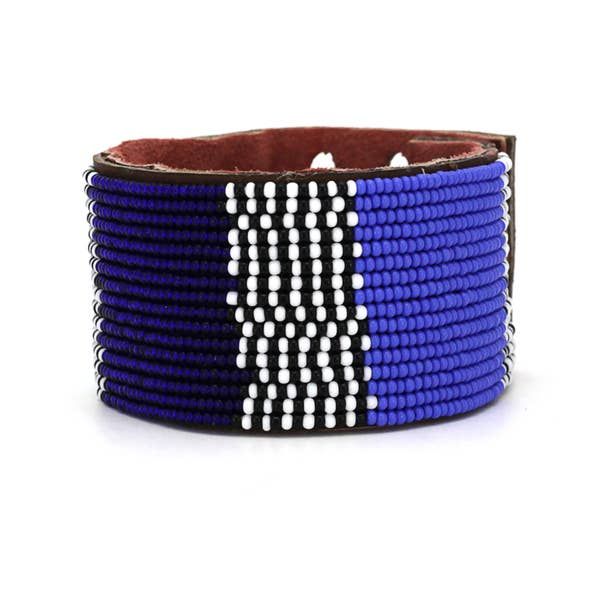 Blue Atlas Leather Cuff Large