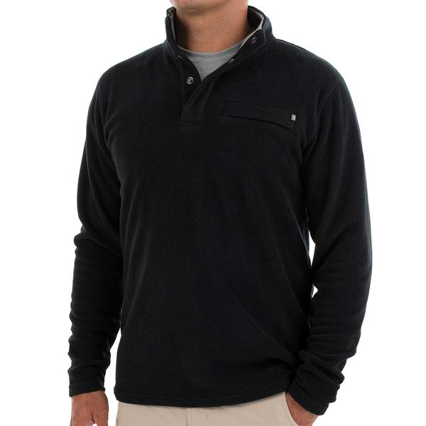 Bamboo Polar Fleece Snap Pullover Black