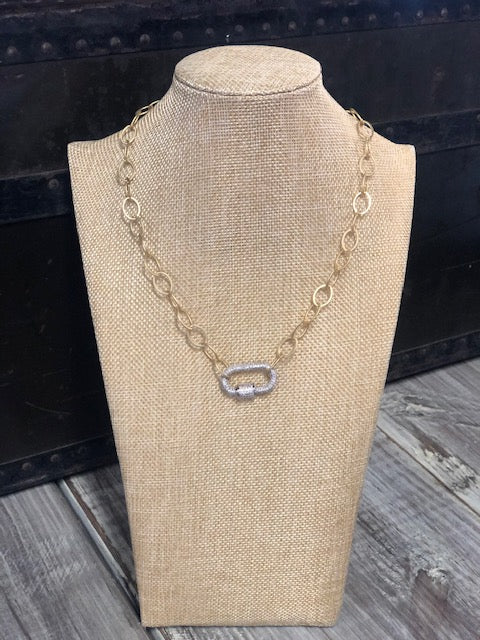 Daisy Silver Paved Lock Gold Necklace