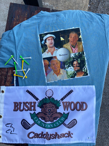 "Chevy Chase Signed ""Caddyshack"" Bushwood Country Club Pin Flag"