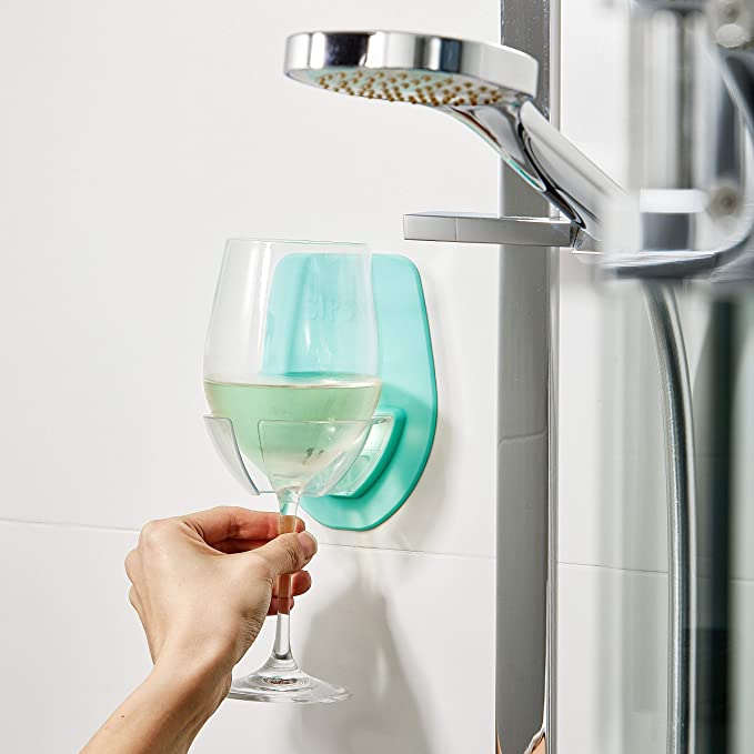 Sipski Shower & Bath Wine Holder Seafoam