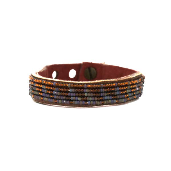 Brown Rainbow Tri Leather Cuff Small