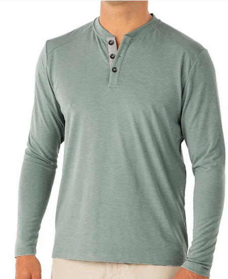Bamboo Flex Henley Heather Spruce