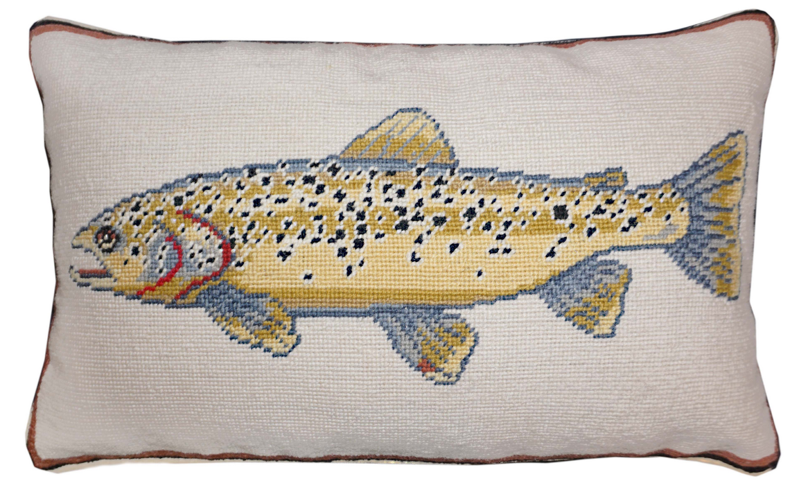Swimming Brown Trout 12x21 Pillow