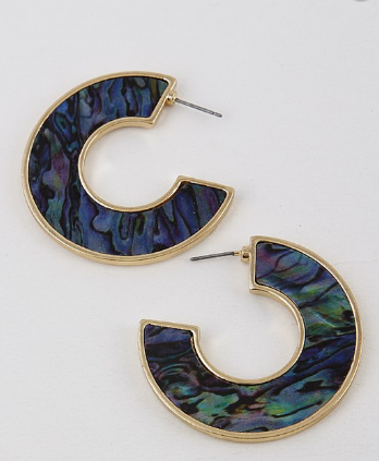 Tortoise Hoop Earrings Blue