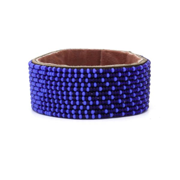 Dark Blue and Ocean Blue Ombre Leather Cuff Medium