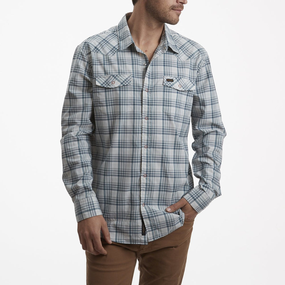 H Bar Bolan Plaid Geologic Grey Shirt