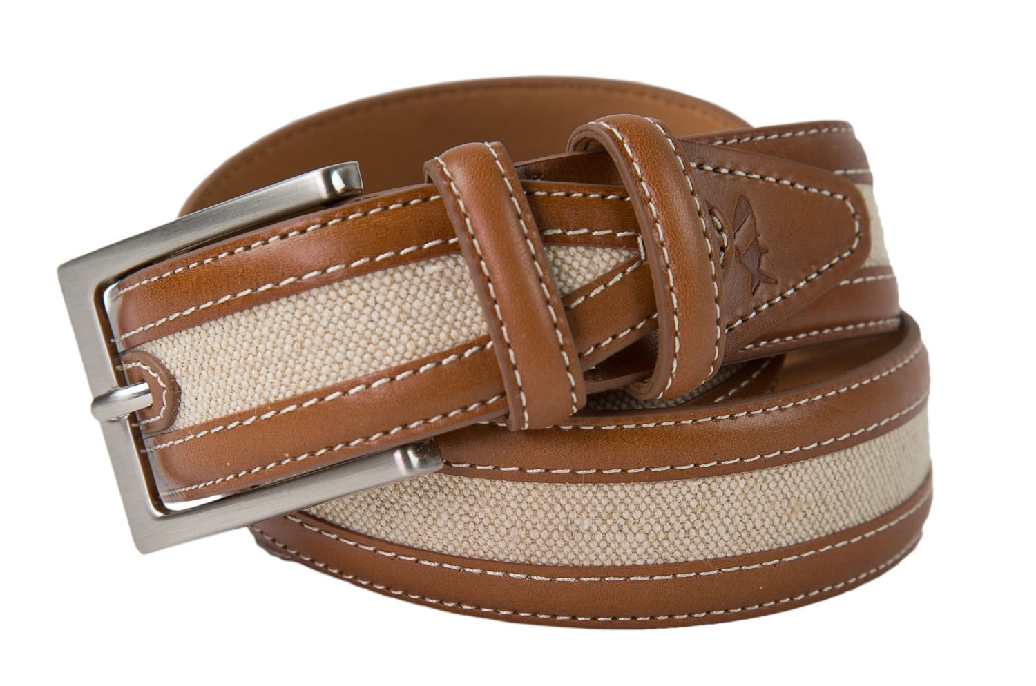 Tan Leather Canvas Belt