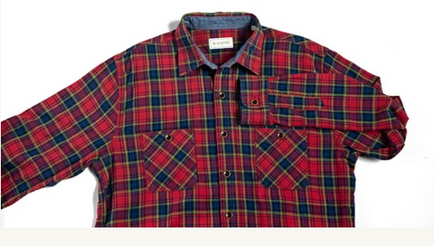 Pellett Work Shirt Red Olive Indigo Plaid
