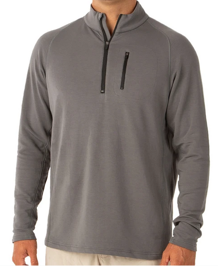 Bamboo Fleece Quarter Zip Steel Grey