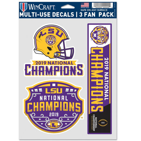 LSU 2019 National Champions 3-Piece Decal Sheet