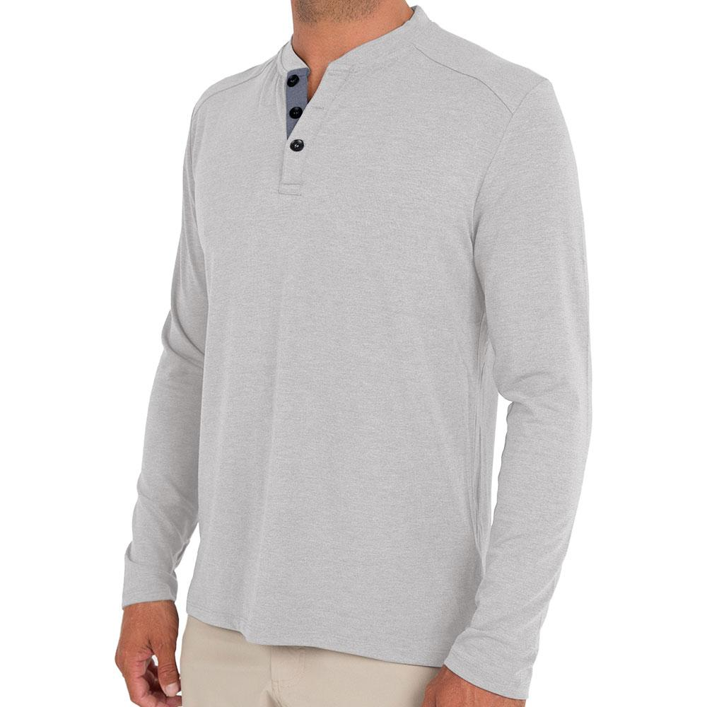 Bamboo Flex Henley Heather Ash