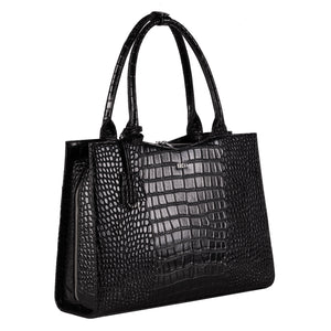 "SOCHA Laptoptasche Damen 15.6"" - ""Croco Jet Black″"