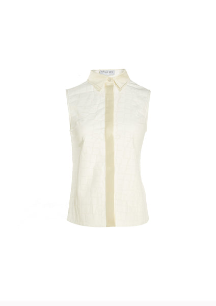 Sleeveless Croc Textured Linen Shirt With Mikado Collar