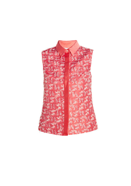 Embroidered Silk Sleeveless Shirt With Mikado Collar