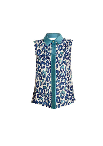 Sea Urchin Leopard Print Sleeveless Shirt With Mikado Collar