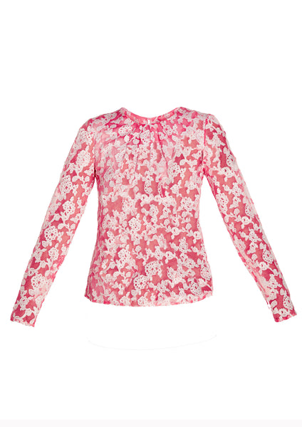 Embroidered Silk Long Sleeve Blouse With Neck Pleating