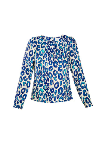 Sea Urchin Leopard Print Long Sleeve Silk Blouse with Neck Pleating