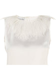 Ostrich Feather Sleeveless Silk Blouse