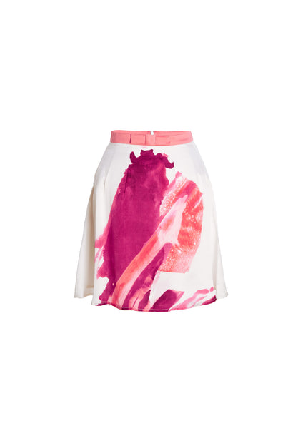 Brushstroke Print Silk Party Skirt With Bow Waistband