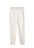 Croc Textured Linen Pants With Mikado Waistband and Drawstrings