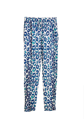 Sea Urchin Leopard Print Silk Pants