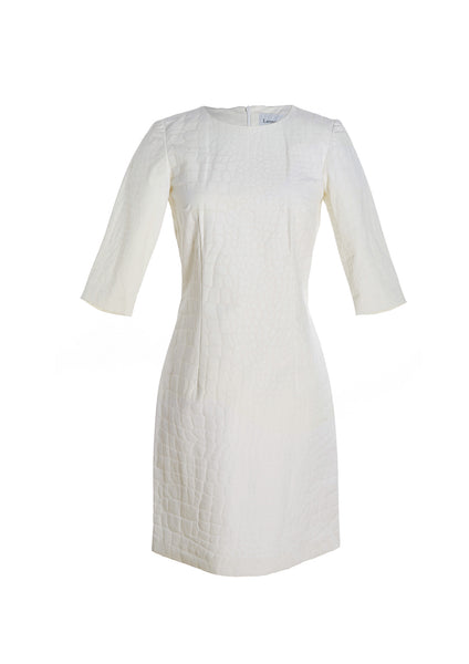 Croc Textured Linen 3/4 Sleeve Dress
