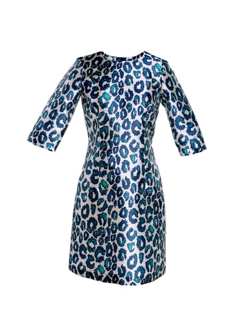 Sea Urchin Leopard Print 3/4 Sleeve Dress With Round Collar