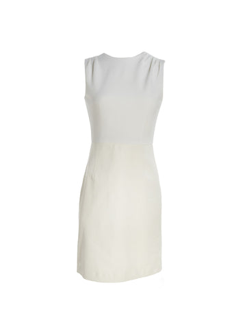 Sleeveless Dress with Crepe Top and Lamb Leather Skirt